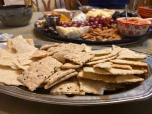 Crackers with cheese and spreads