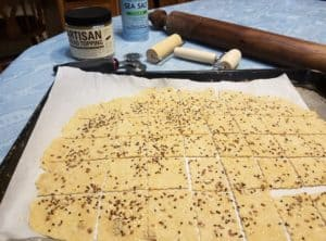 Sourdough Wheat Crackers with Artisan Bread Topping