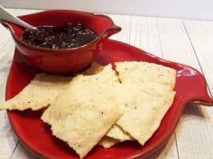 crackers with plum chutney