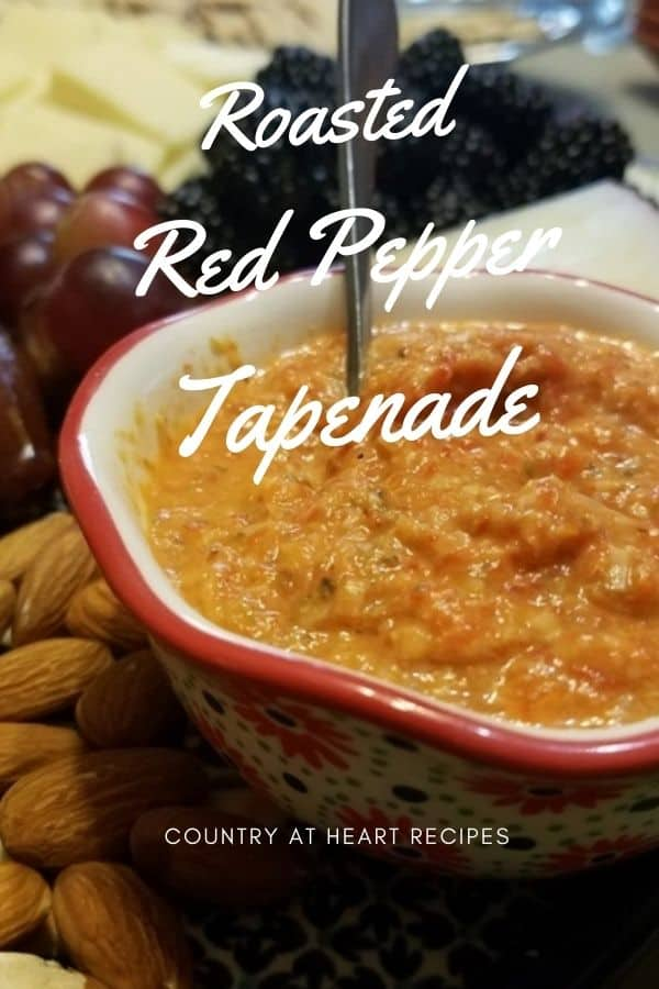 Pinterest Pin - Roasted Red Pepper Tapenade