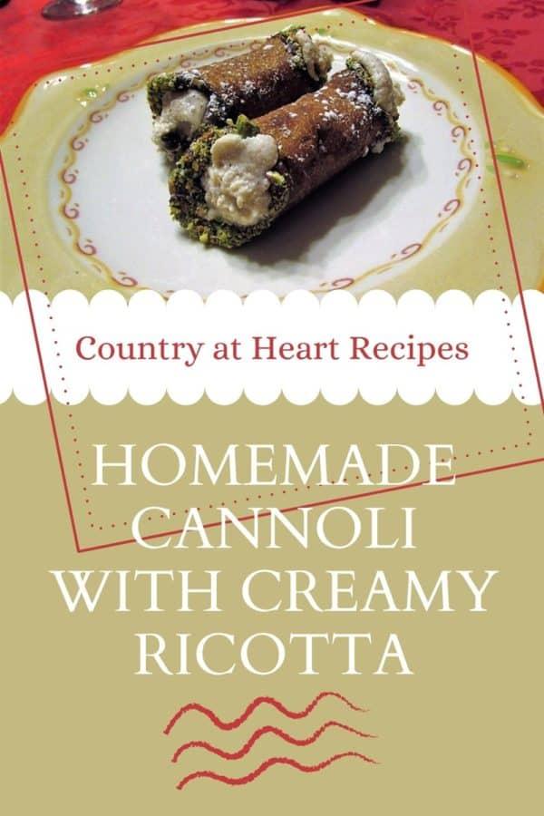 Pinterest Pin - Homemade Cannoli with Creamy Ricotta