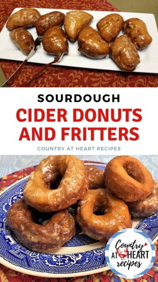 Pinterest Pin - Sourdough Cider Donuts and Fritters