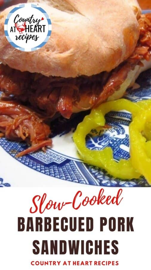 Pinterest Pin - Slow-Cooked Barbecued Pork Sandwiches