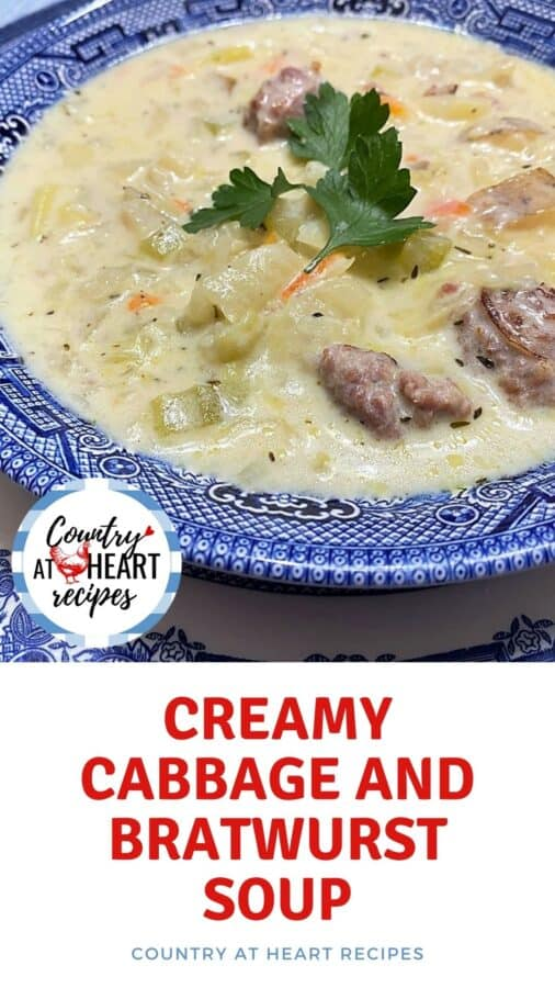 Pinterest Pin - Creamy Cabbage and Bratwurst Soup