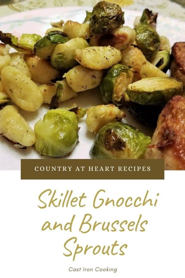 Pinterest Pin - Skillet Gnocchi and Brussels Sprouts