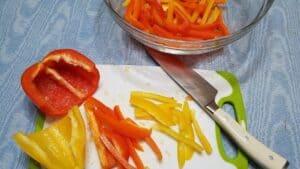 Preparing Bell Peppers for the Fajitas