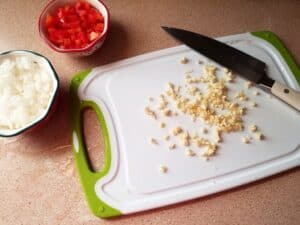 Preparing the Ingredients for Tomato-Basil Topping