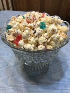Serving Patriotic Popcorn Snack on the 4th of July