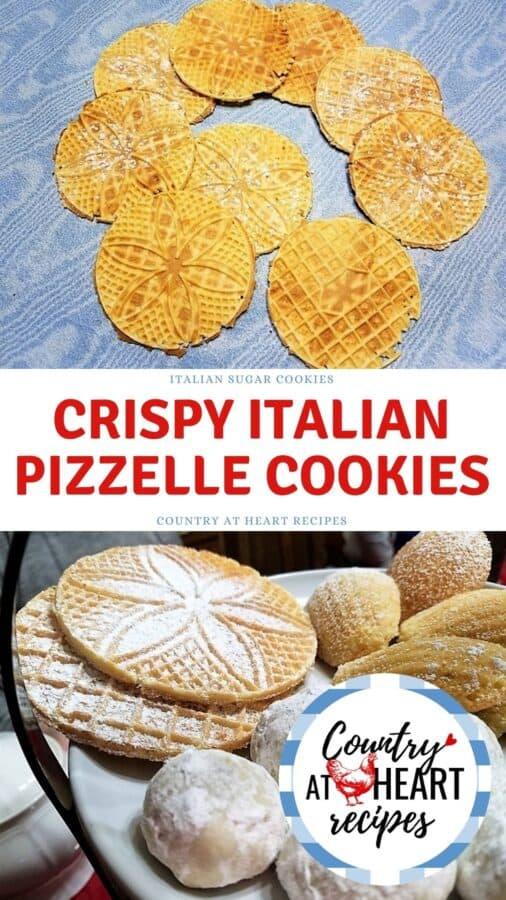 Pinterest Pin - Crispy Italian Pizzelle Cookies