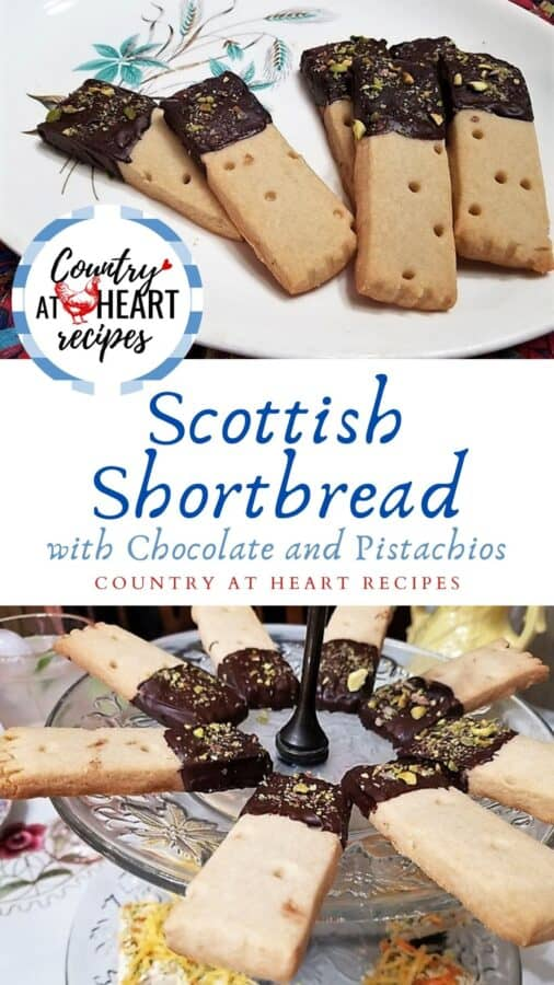 Pinterest Pin - Scottish Shortbread with Chocolate and Pistachios