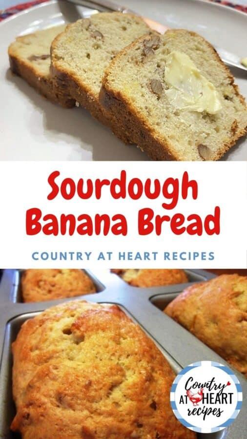 Pinterest Pin - Sourdough Banana Bread