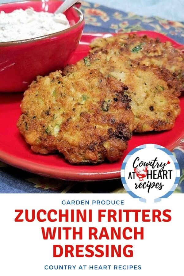 Pinterest Pin - Zucchini Fritters with Ranch Dip
