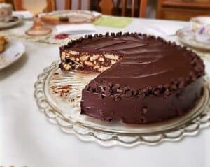 Serving Chocolate Biscuit Cake at a Tea Party