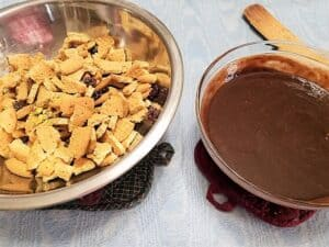 Adding Chocolate to the Biscuit Mixture