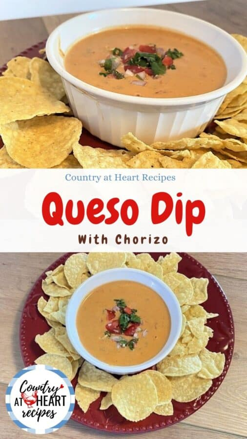 Pinterest Pin - Queso Dip with Chorizo